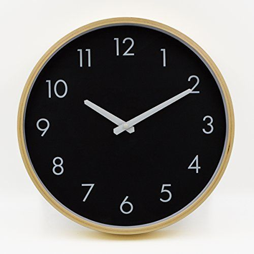 Hippih Silent Wall Clock Wood 12 Inch Non Ticking Digital Quiet Sweep Decorative Vintage Wooden Clocks Black Wooden Clock Clock Wood Wall Clock