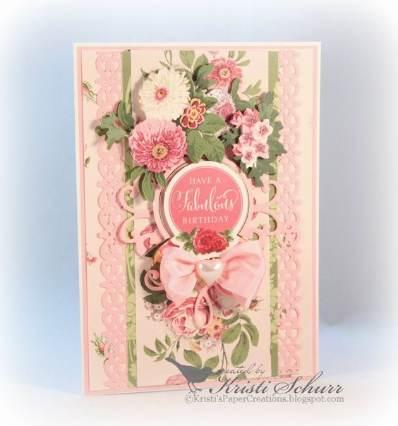 Kristi's Paper Creations: Cottage Rose Birthday Card