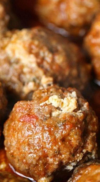 Slow Cooker Ricotta Stuffed Meatballs