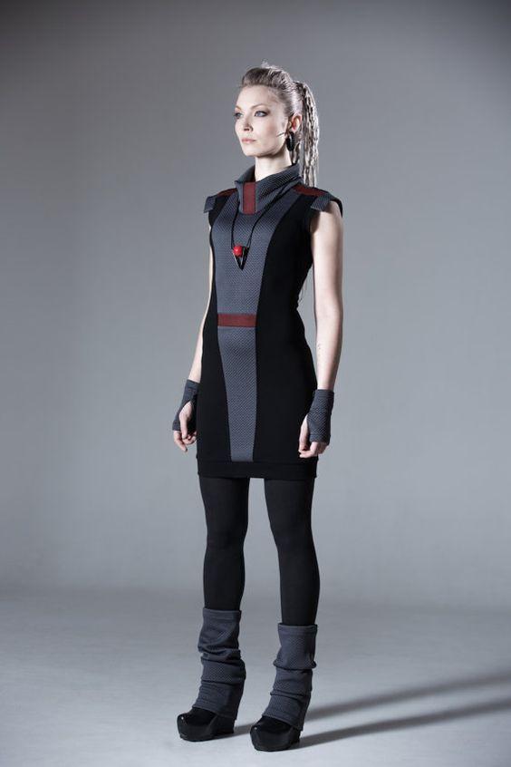 Sci-fi dress slim fit avant garde dress cowl neck waist jersey - ND dress: