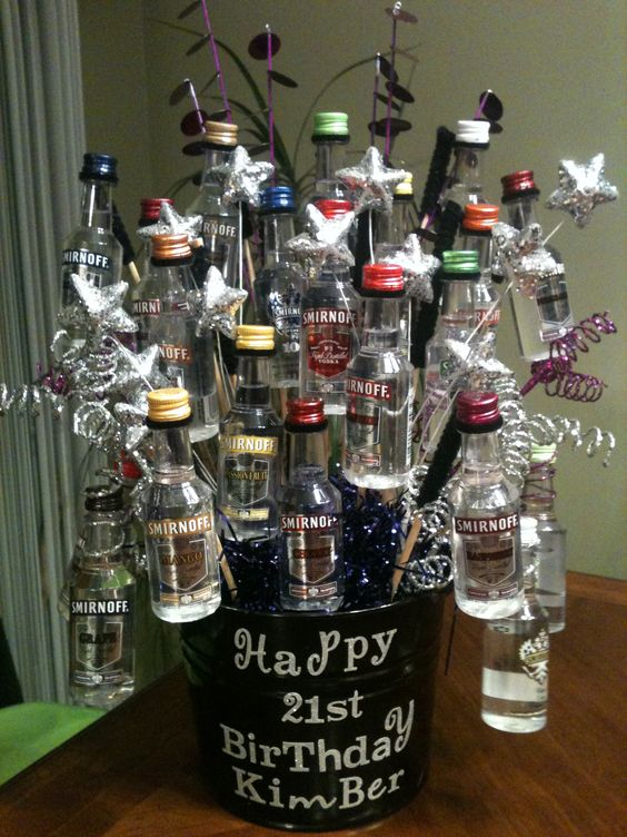 21st Birthday Gift Basket Alcohol : Great st birthday shot basket gift giving ideas