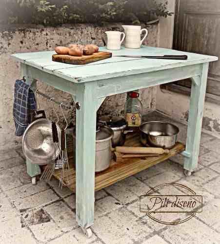 Mesa de madera con ruedas isla de cocina cocinas - Mesa cocina vintage ...