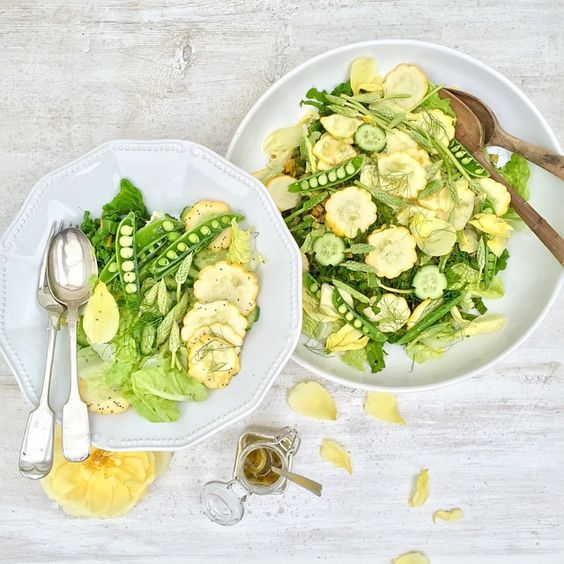 Follow @rawveganblonde she's Bloomin ace!! I really love her work ....A fresh Summer salad with a citrus and sweet herb dressing . ☀️ 'Greens and Yellows #jamieoliver #repost