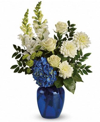 White, Blue, and Light Green Flower Arrangement: