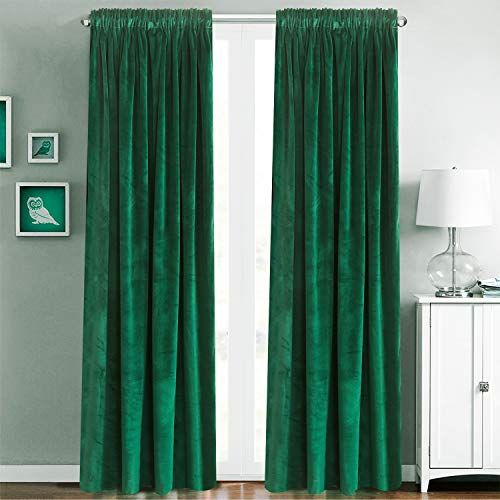 Blackout Velvet Curtains Rod Pocket Drapes Dark Green 96 Https