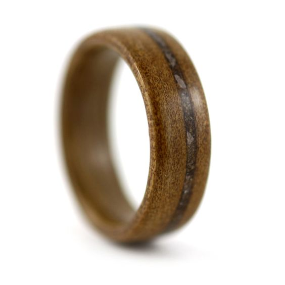 Ancient Kauri Wood Ring with Rust Inlay