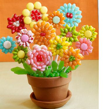Floral Cookie Pop display made with Jelly Beans | FamilyLicious.com