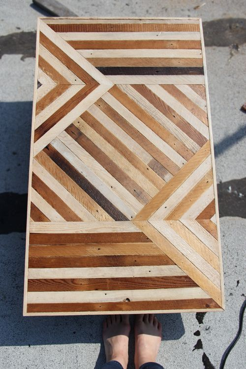 Wood table made from salvaged flooring
