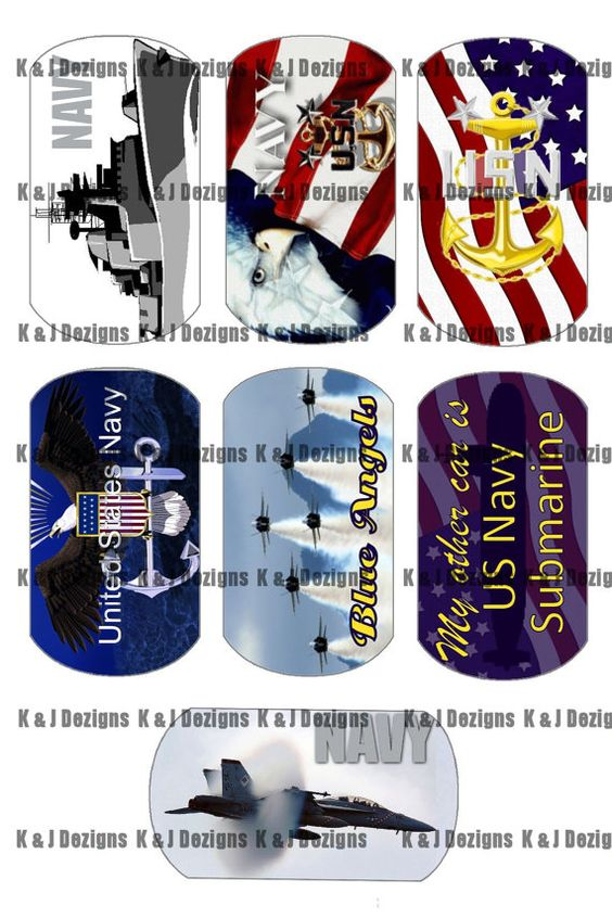 Navy Digital Design Dogtag Images by FunGraphics4U on Etsy, $1.75