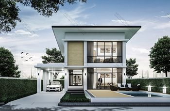 Re H2 505 C แบบบ านสองช น 4 ห องนอน 5 ห องน ำ พ นท ใช สอย 327 ตร ม Modern Style Architect Bkk Com ร ปแบบบ าน แบบบ านสม ยใหม แบบบ าน โมเด ร น