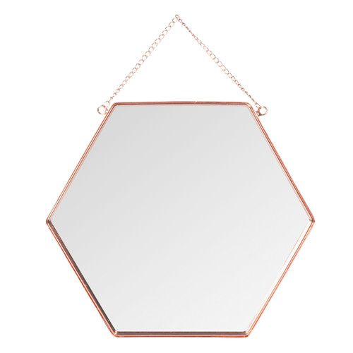 miroir en m tal cuivr h 31 cm hexagonal copper miroirs. Black Bedroom Furniture Sets. Home Design Ideas