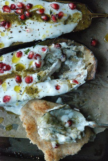 Savory sight eggplant with yogurt sauce pomegranates for Armenian cuisine cookbook