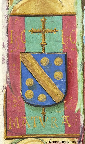 Escutcheon with arms of Jean Carondelet (azure a fasce and six bezants or en orle, an archiepiscopal cross in pale beneath the shield), with the initials IC and the motto MATURA | Book of Hours | Belgium, Bruges | ca. 1500 | The Morgan Library & Museum
