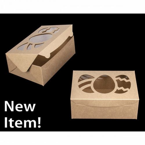 4119 10 X 7 X 4 Brown Brown With Easter Egg Window Lock Tab Box With Lid Box With Lid Cupcake Inserts Easter Eggs