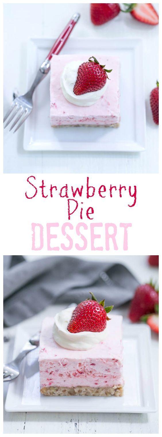 Strawberry Pie Dessert | A dreamy frozen strawberry fluff dessert! @lizzydo