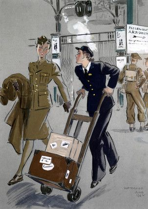 Servicewoman with a female porter, Waterloo Station, 1942. Helen Madeleine McKie