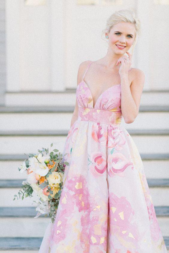 Kate McDonald Pink and Gold Floral Print Dress - The Best Wedding Dresses of 2015! | Kat Harris Photography | http://heyweddinglady.com/best-wedding-dresses-2015/