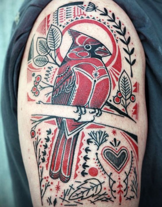 Red Cardinal with leaves and pattern tattoo by David Hale