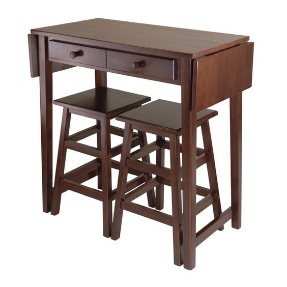 Mercer Double Drop Leaf Kitchen Island Table with 2 Stools