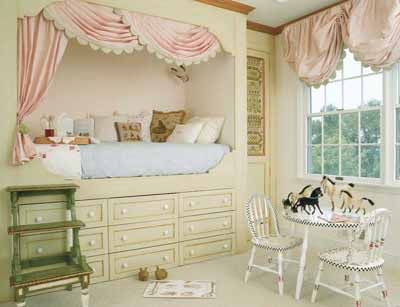 Inspired by classic Swedish built-in beds and colored in romantic ice pink and celery, this fairy-tale room is sophisticated and timeless as well as pretty.