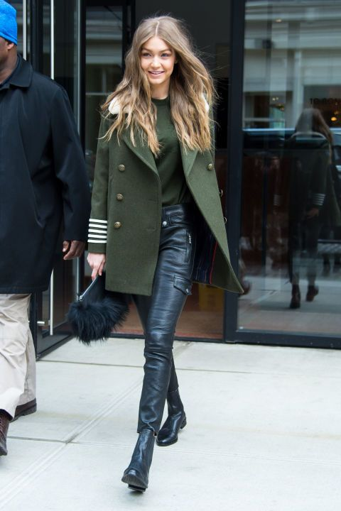 Gigi Hadid is blessing us with her hair in loose curls and a pair of leather pants.