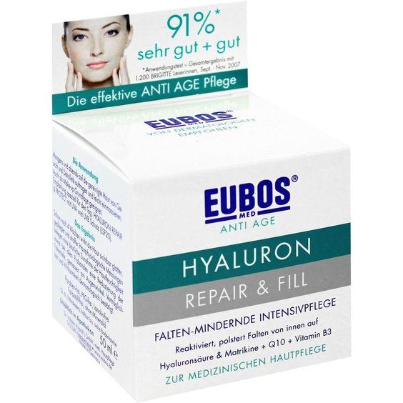 EUBOS SENSITIVE Hyaluron Repair & Fill Creme:   Packungsinhalt: 50 ml Creme PZN: 04918634 Hersteller: Dr.Hobein (Nachf.) GmbH Preis:…