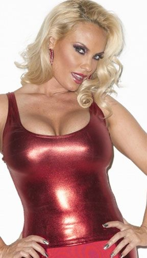 Wet Look Lame Tank Top Comes In Shiny Red Black Silver