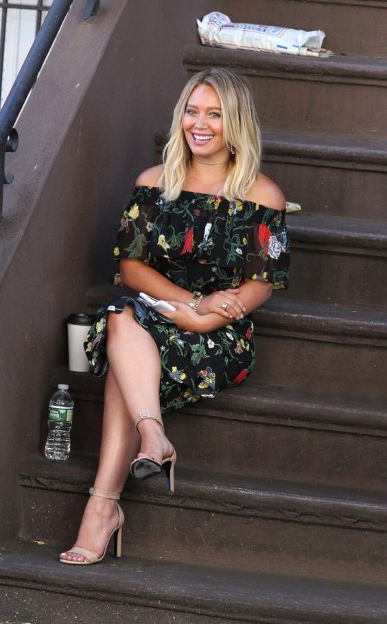 Hilary Duff wearing Saint Laurent Grace Snakeskin Beige Sandals, Tibi Seville…