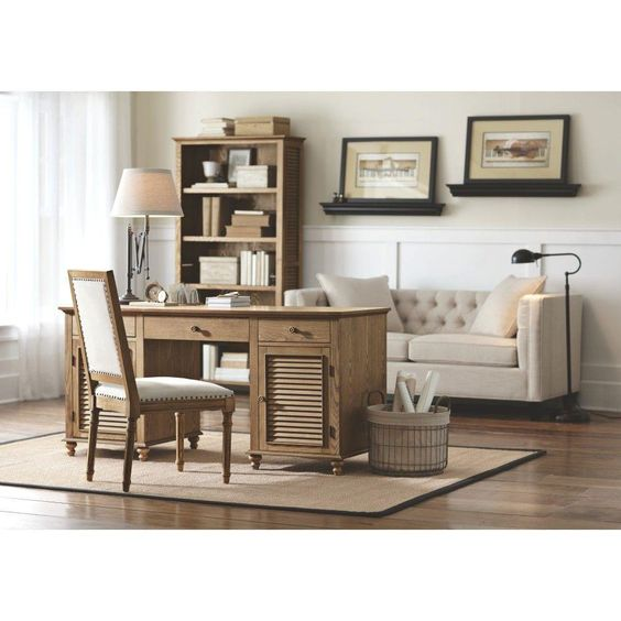 Shutter 2-Door Executive Desk in Weathered Oak