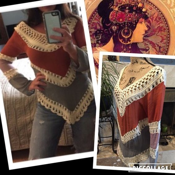 Bohemian tunic / swim cover Casual Loose Women V-Neck Long Sleeve Knit Splice Hollow Out...Anywhere from a small to possible large could pull off depending on desired fit. Coloring and look is pretty accurate in pics. I'm pretty busty, so consider in fit. Price is firm unless bundled Boutique Tops