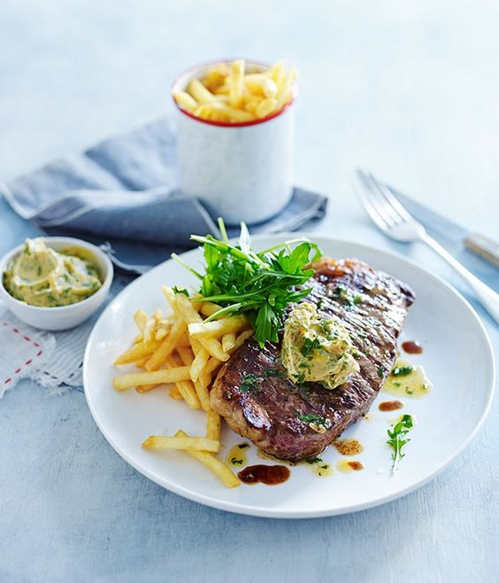 Char-grilled sirloin steak with garlic butter recipe | French recipe | Fast recipe - Gourmet Traveller
