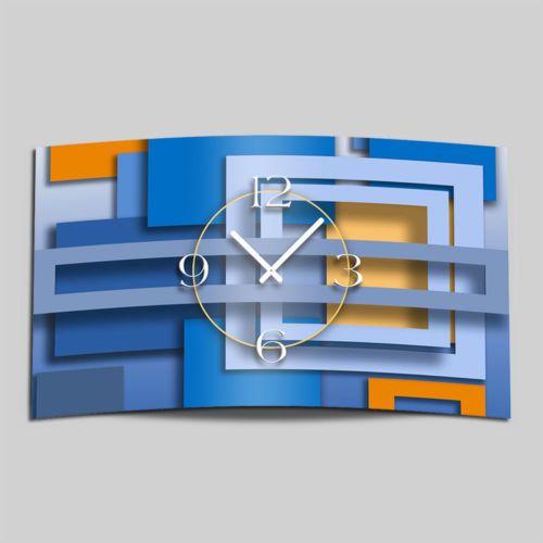Abstrakt-blau-Designer-Wanduhr-Edelstahl-modernes-Wanduhren-Design-leise-kein-ti