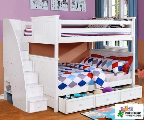 Allen House Chatham Full Over Full Bunk Bed With Stairs White