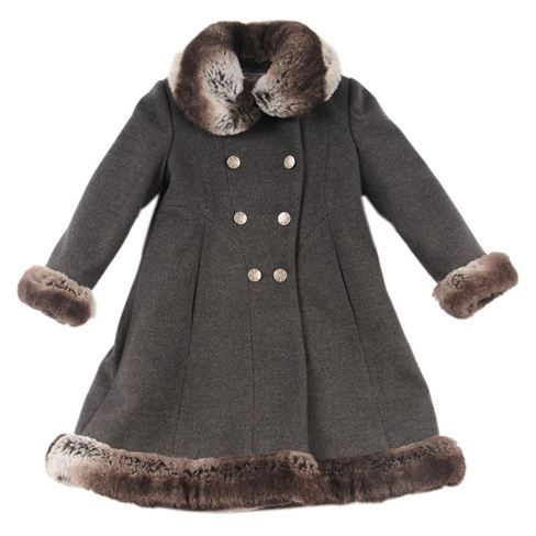 Rothschild Faux Fur Trimmed Skater Dress Coat 2T-4T (Rothschild