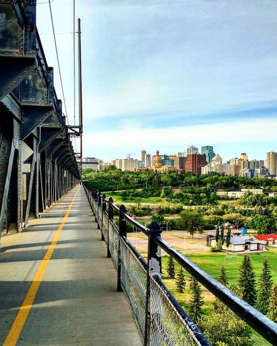 The view of downtown Edmonton from the High Level Bridge, right beside the University of Alberta.