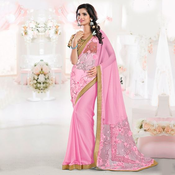 Buy Pink Thread Embroidered Saree online India, Best Prices, Reviews - Peachmode