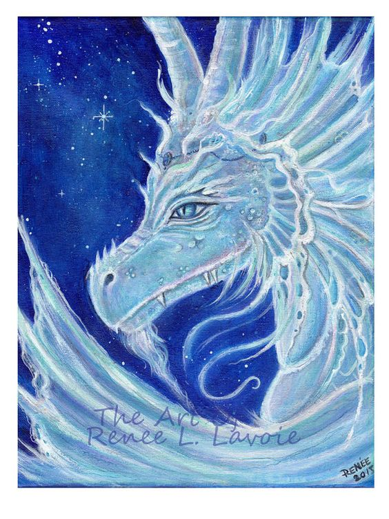 Aceo print  the icy blue dragon Fantasy by TheArtOfReneeLLavoie