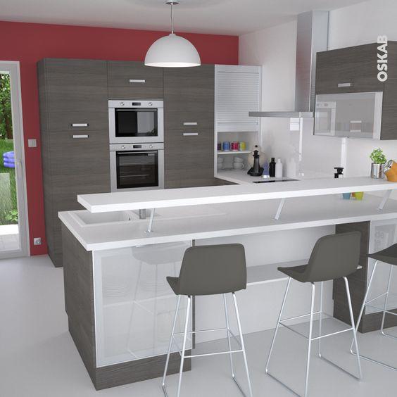 cuisine en u ouverte avec retour snack meuble de cuisine en bois fonc d cor noyer fum plan. Black Bedroom Furniture Sets. Home Design Ideas