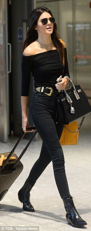 All black ensemble including off the shoulder top, skinny jeans, boot and belt + silver choker