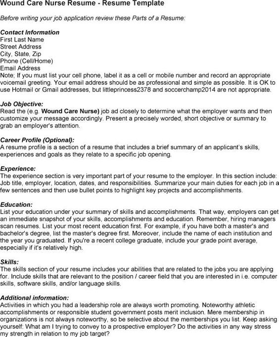 Wound Care Nurse Resume Example - http\/\/resumesdesign\/wound - parts of a resume