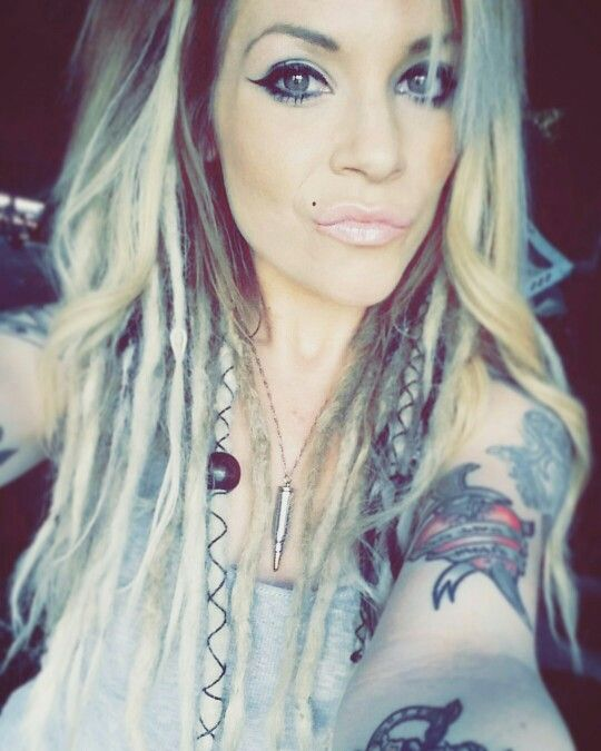 """My platinum blonde ombre """"half dreads"""" with some leather wraps and beads after about a month"""