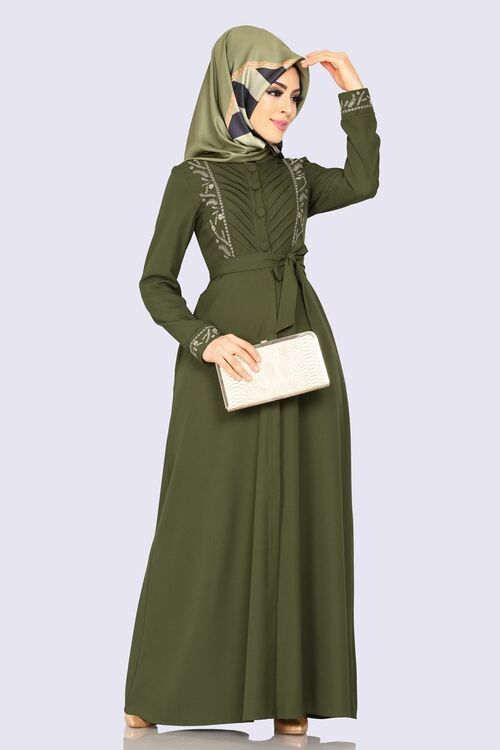 Modaselvim Elbise Nakisli Elbise Ferace 2143ms212 Haki Couture Dresses Dresses Abaya Fashion
