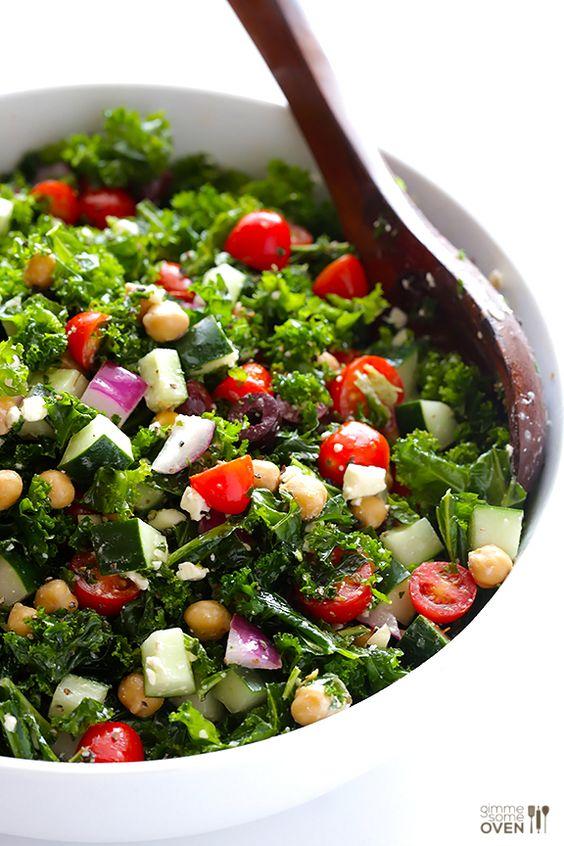"""Chopped Kale Greek Salad"" | gimmesomeoven.com #healthy #vegetables #simple"