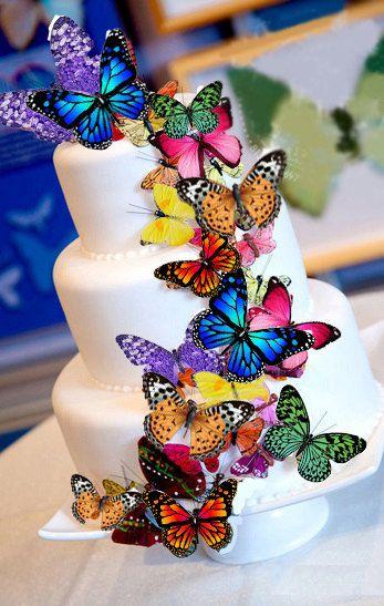 d corations de g teaux comestibles comestibles assortiment de papillons multi color g teau. Black Bedroom Furniture Sets. Home Design Ideas
