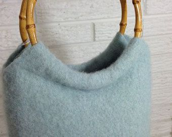 felted purse bamboo handles on Etsy, a global handmade and vintage marketplace.