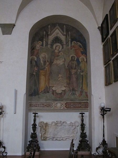 Mariotto di Nardo di Cione - Madonna col bambino e santi - affresco - Accademia delle Arti del disegno, Firenze