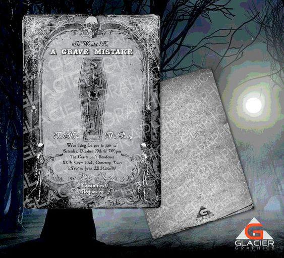 Spooky Halloween Skeleton Invitation Template by WAGlacierGraphics