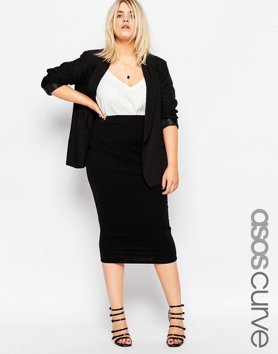 ASOS CURVE • Midi Pencil Skirt in Jersey