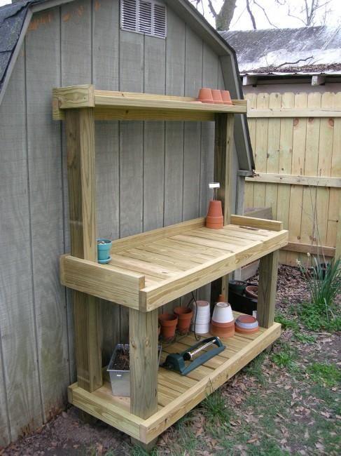 Diy pallet potting bench dunway enterprises for more for Potting shed plans diy blueprints