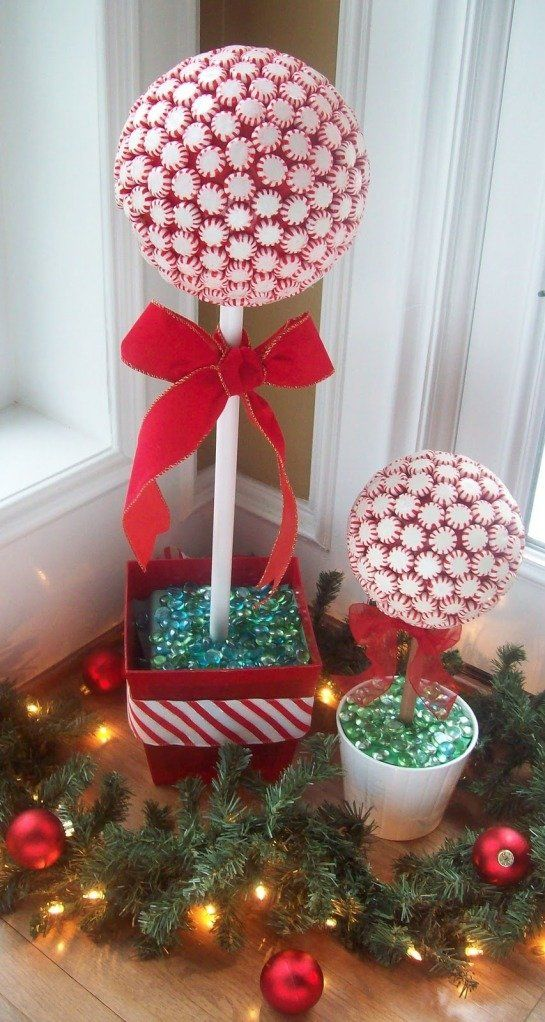 Christmas Topiary DIY made from a styrofoam ball with glued on peppermint candies.